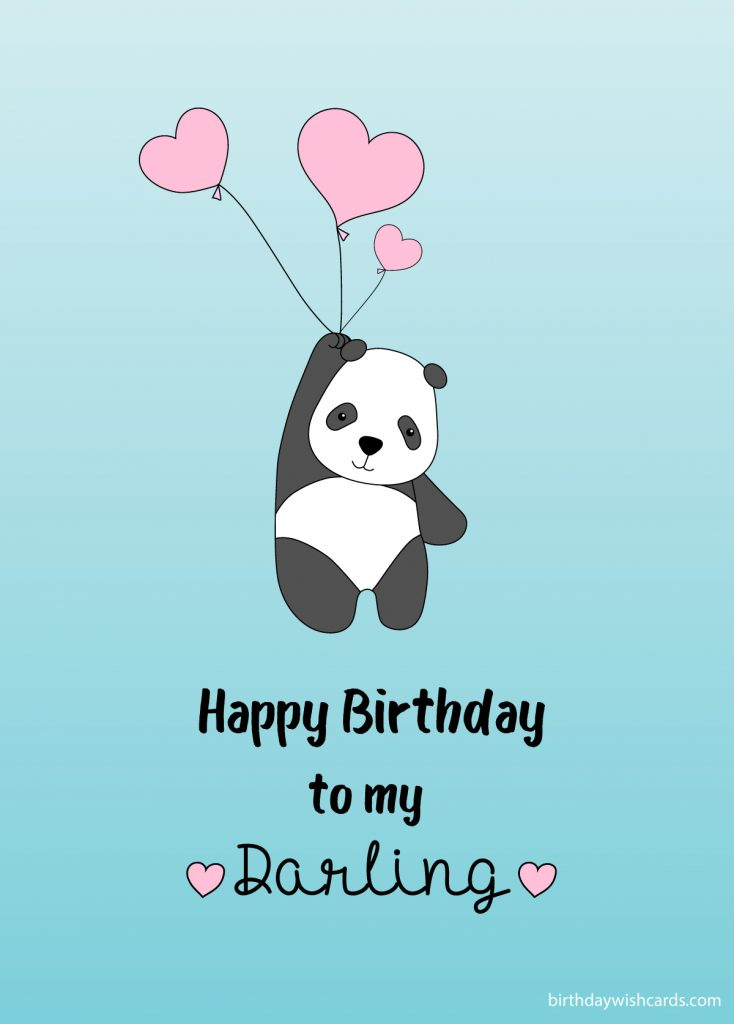 happy birthday to you my darling from love panda