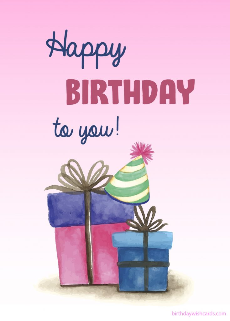 water color gifts and hats happy birthday image